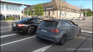 Audi RS3 & Maserati GranTurismo revs & sounds 1080p