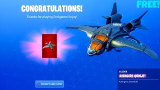 *FREE* Avengers Quinjet Unlocked..! (NEW Glider Showcase) Fortnite Battle Royale