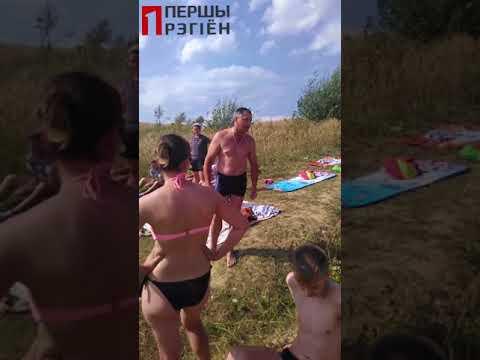 Дискуссия с милицией на водоеме в Кабаках, Березовский район. Купаться запрещено 4 августа 2018