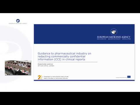 Implementation of EMA policy on publication of clinical data – Current status Stakeholder Webinar