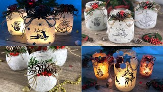 Easy DIY tutorial facilissimo How to make frozen lanterns with salt upcycling old  glass jars