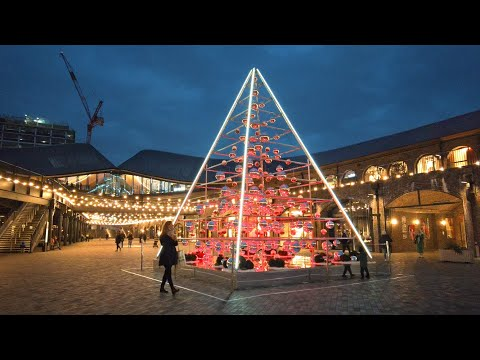 London Christmas Lights 2020 ✨ King's Cross, Granary Square, Coal Drops Yard & St Pancras Trees