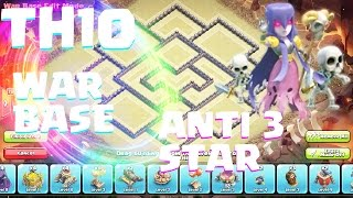 Clash of clans-AWESOME TH10 WAR BASE ANTI 3 STAR 275 WALLS