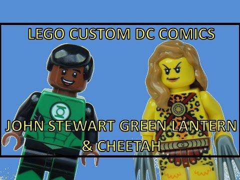 LEGO DC COMIC SUPERHEROES CUSTOM JOHN STEWART GREEN LANTERN & CHEETAH MINIFIGURES
