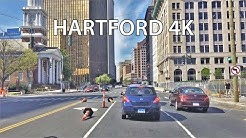 Driving Downtown - Hartford 4K - Connecticut USA