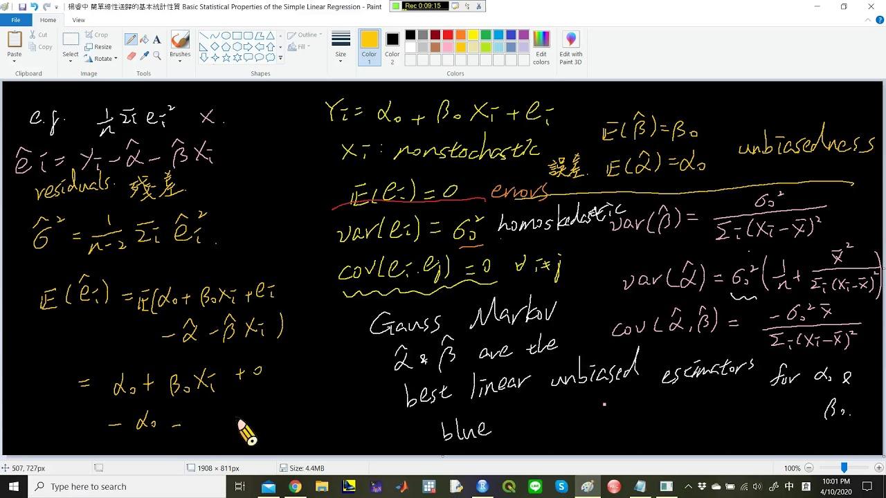 楊睿中《統計學》:簡單線性迴歸的基本統計性質 (III):OLS 標準誤的估計——為什麼要除以 n-2? - YouTube