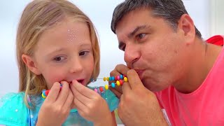 Nastya e espelhos mágicos mudando de rosto, história engraçada para crianças