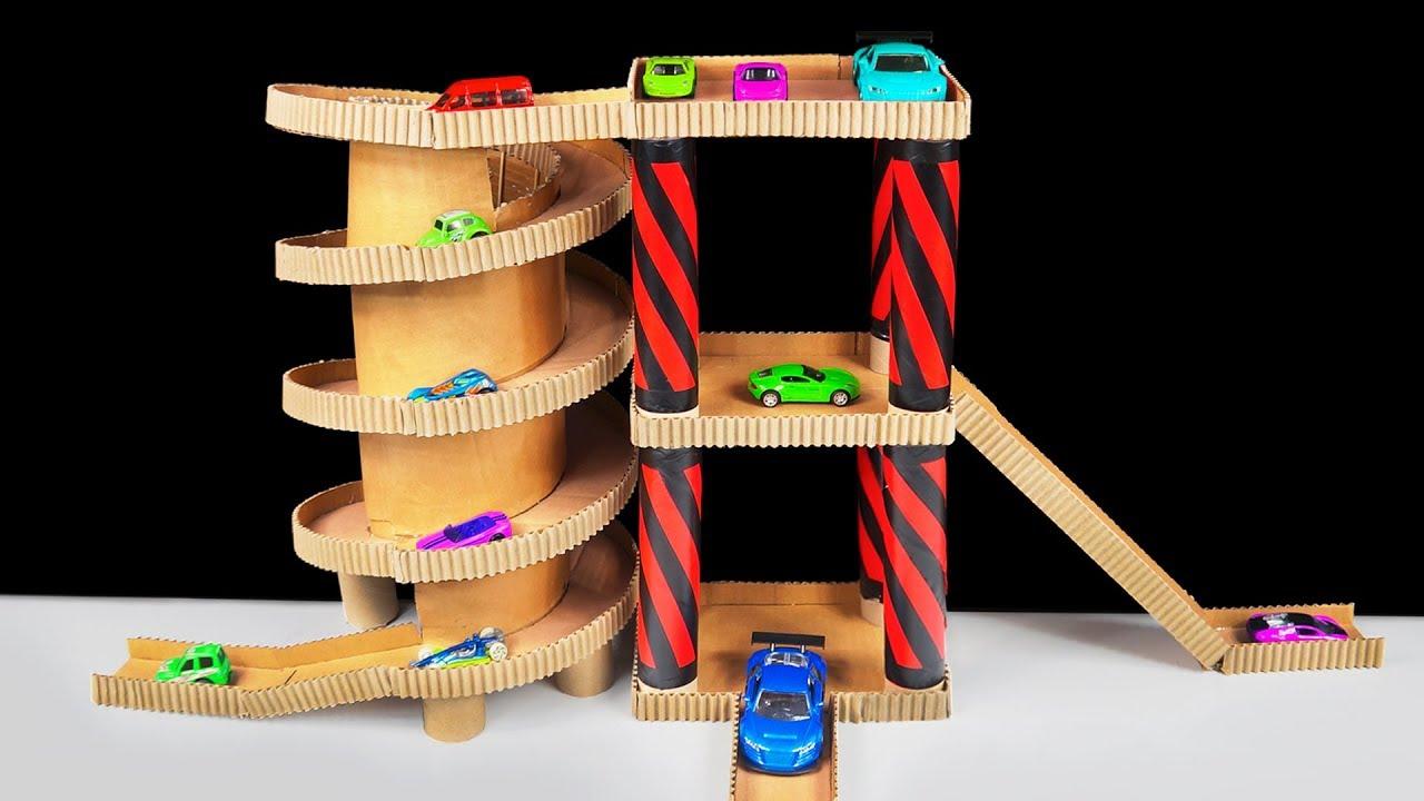 how to make cardboard toy car garage playset for hot wheels cars youtube. Black Bedroom Furniture Sets. Home Design Ideas