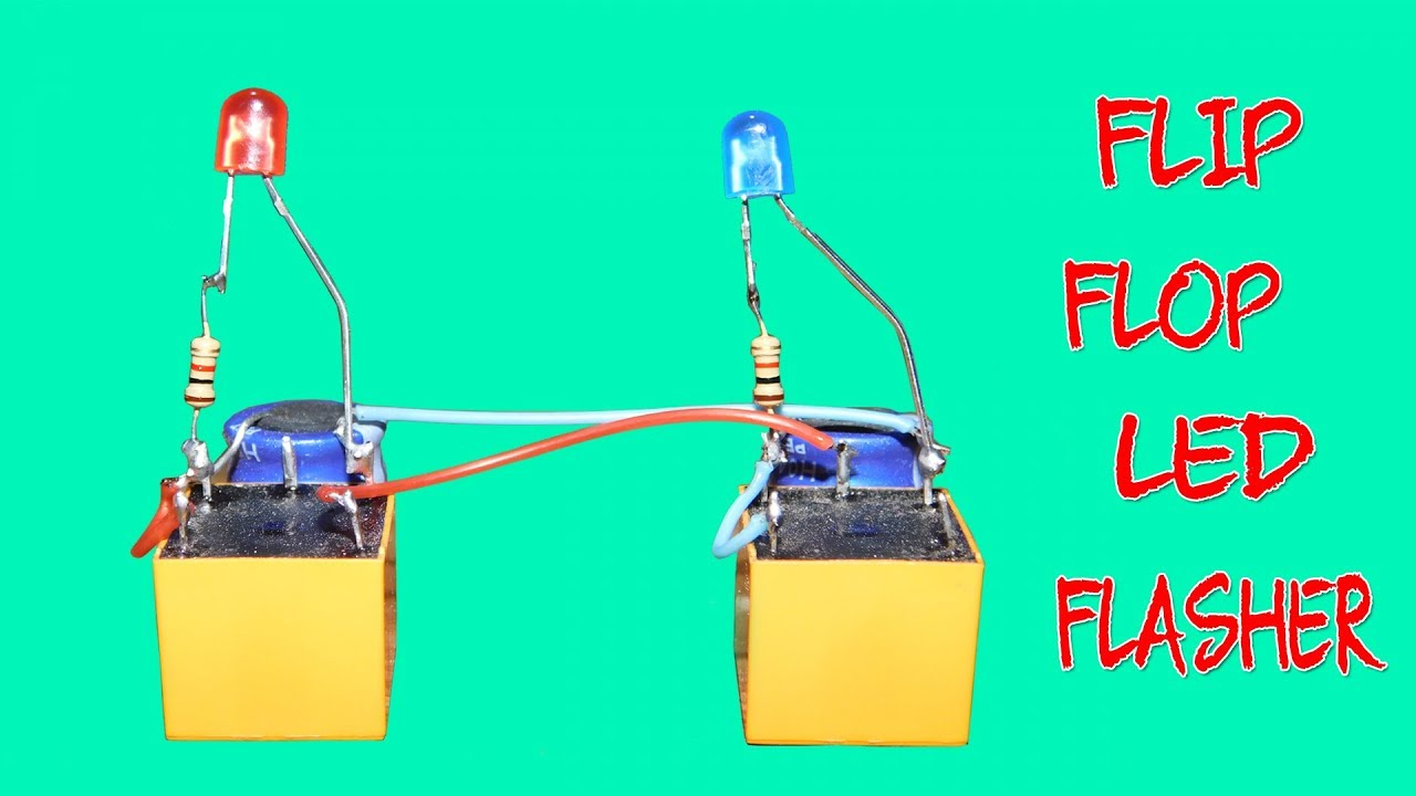 flip flop led flasher circuit using two relay only