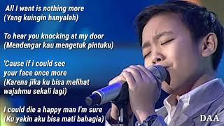 Lirik Terjemahan DEVEN ALL I WANT Kodaline TOP 5 INDONESIAN IDOL JUNIOR 2018