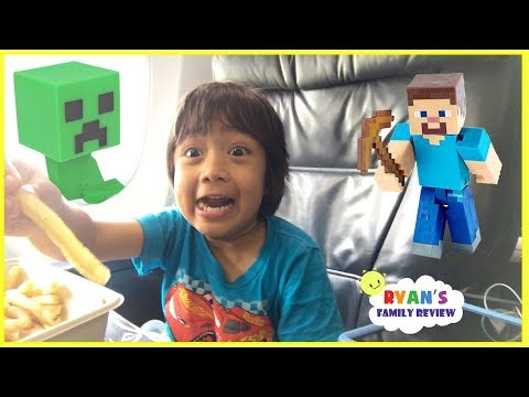 Thumbnail: Surprise Toys Opening Challenge Minecraft Kid On the Airplane going home with Ryan's Family Review