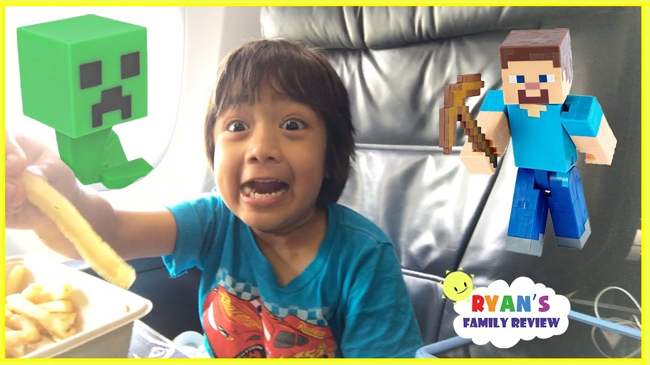 Surprise Toys Opening Challenge Minecraft Kid On The Airplane Going