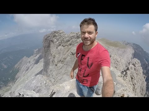 Climbing on the top of Mountain Olympus in Greece