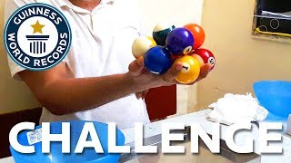 Most Pool Balls Held In One Hand - - Challenge - Guinness World Records