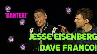 jesse eisenberg dave franco talk banter rude songs and play our joke card game