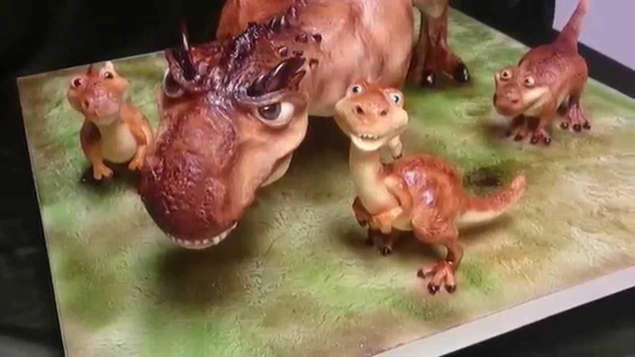 gravity defying 3D Dinosaur cake YouTube