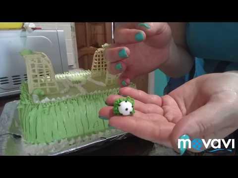 торт Футбольное поле Белковозаворным кремом