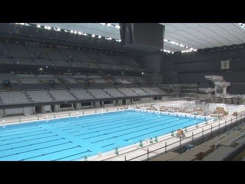世界水準の水泳場お目見え 五輪新設会場、建設進む