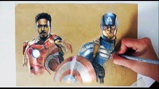 Captain America vs Iron Man / Civil war / colored pencil drawing