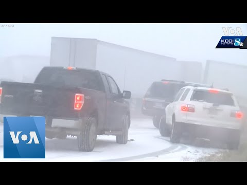 50 Vehicles Pile Up On Icy Iowa Highway