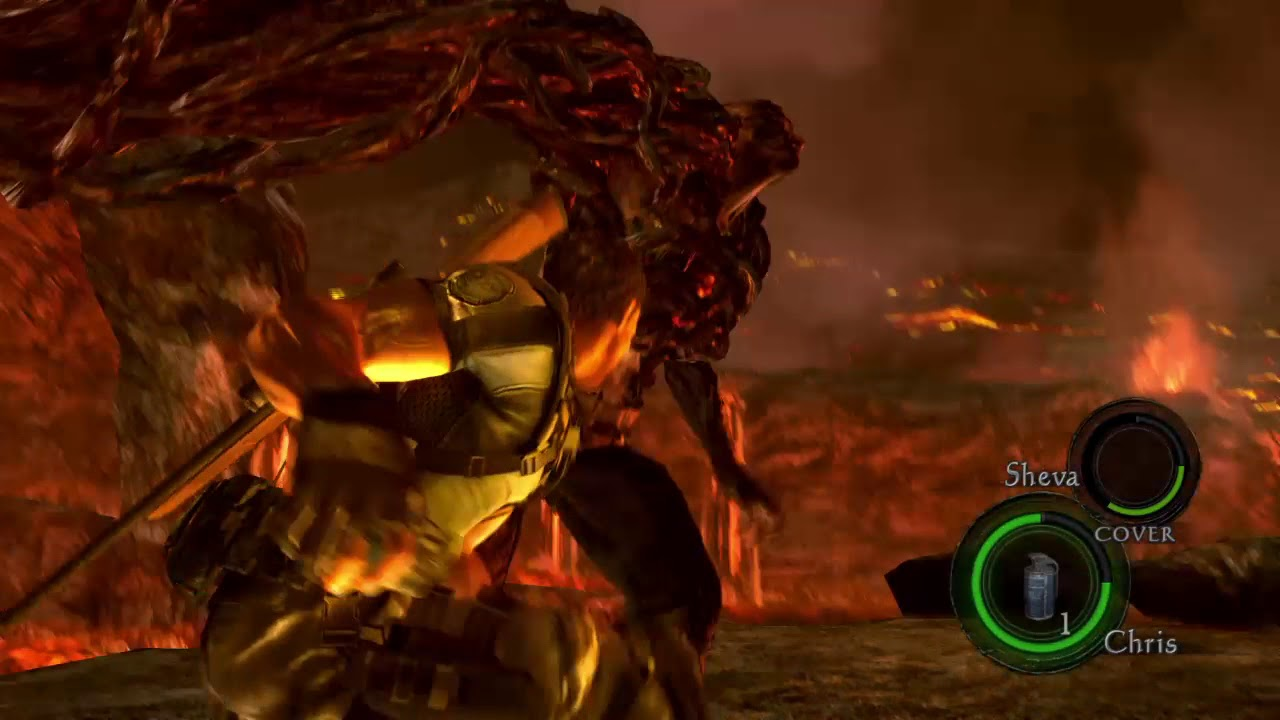 Resident Evil 5 Chris Vs Wesker Final Battle Knife Only No
