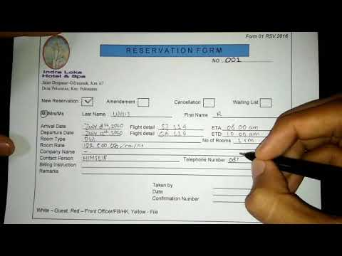 Cara Mengisi Reservation Form Youtube