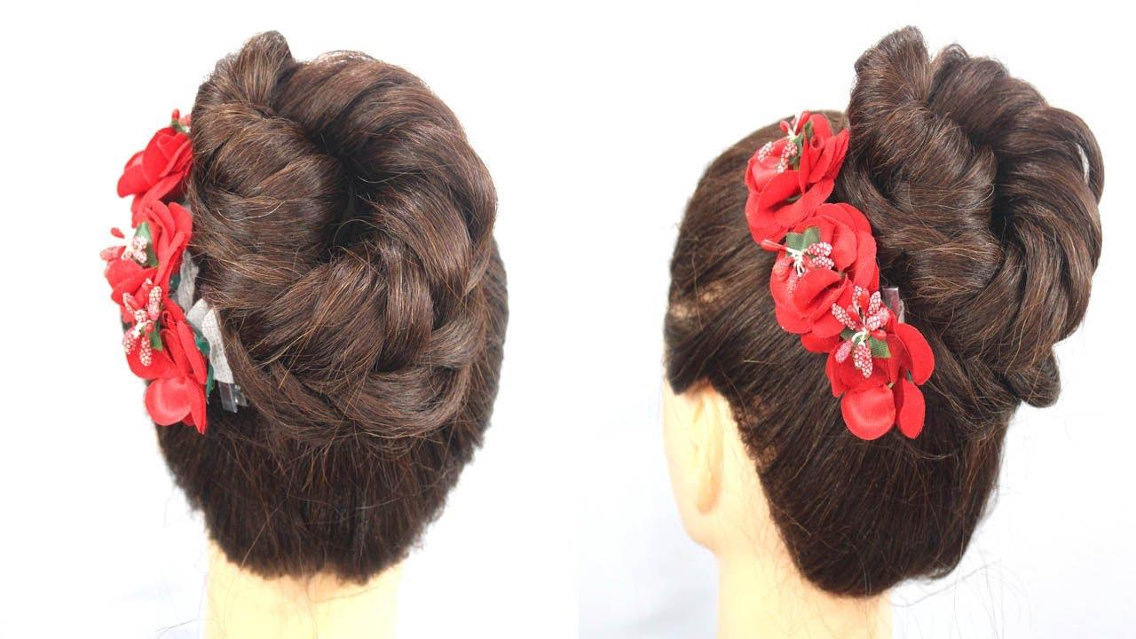 Beautiful Bun Hairstyle For Girls || High Bun Hairstyle For Wedding #bun #buntrick #hairstyles