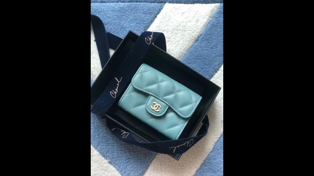 Chanel 18C light blue iridescent cardholder   o-coin purse - YouTube 2fd3e1d09bf92