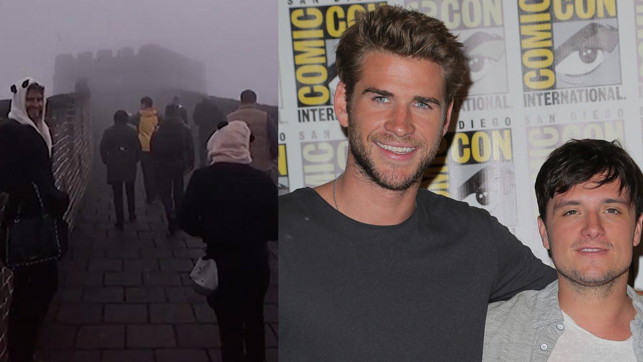 Liam Hemsworth Josh Hutcherson Dress As Pandas On Great Wall Of
