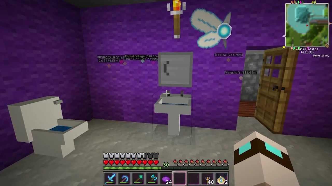 Purple bathroom minecraft oasis ep 167 youtube for Bathroom ideas minecraft