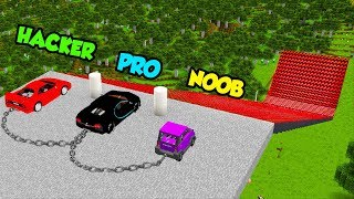 Minecraft Noob Vs Pro Vs Hacker Super Car Jump Challenge In Mineraft  Animation