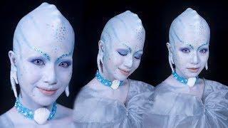 princess of the pearls makeup tutorial   valerian movie makeup bald cap erase eyebrows