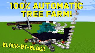 Fully Automatic Tree Farm (no AFK needed) | block-by-block build tutorial