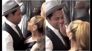 Jay Z and Beyonce Get Romantic Start Kissing At Grammy Party