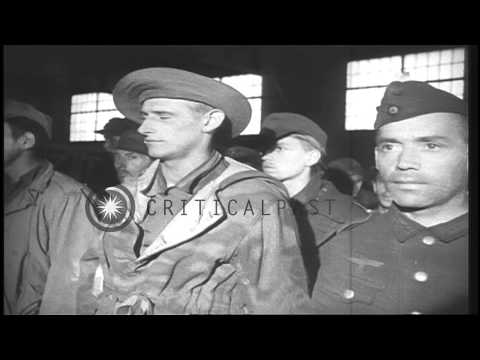 3,000 German prisoners arrive in New York, United States and are searched. HD Stock Footage