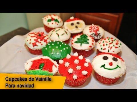 Cupcakes De Vainilla Decorados Cupcakes Navidenos Youtube