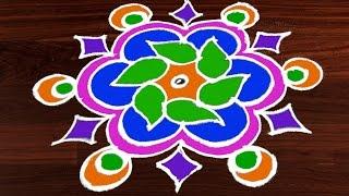 #211 - Easy Rangoli Designs with Kolam Design | 5 to 3 Interlaced Dots | Rangavalli by Sunitha