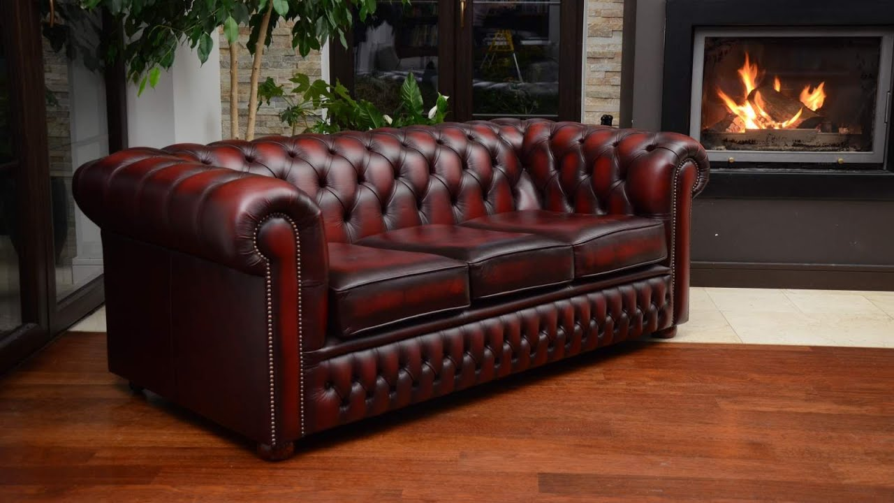 Sofa chesterfield 3 osobowa - chesterfield sofa 3 seater - YouTube