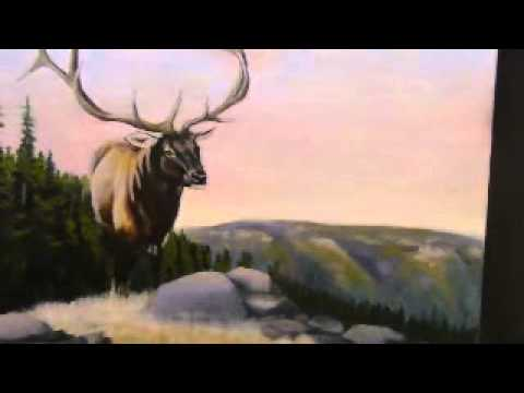 Another elk painting and landscape oil paintings