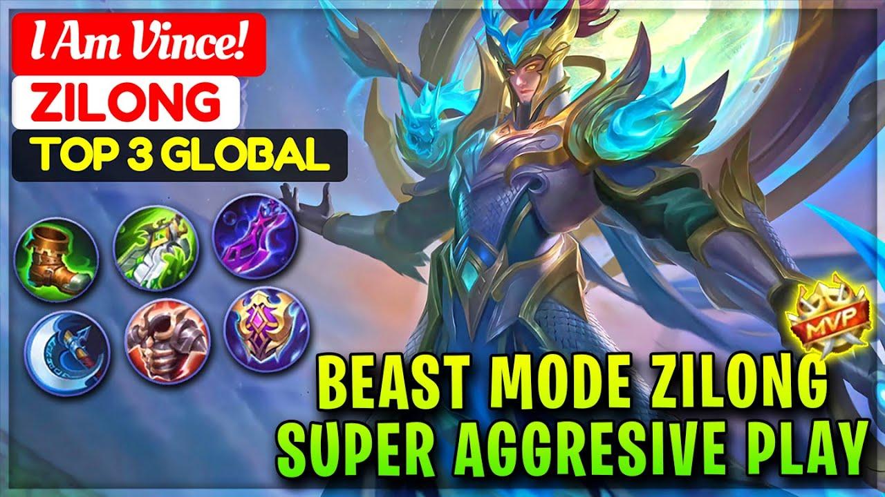Beast Mode Zilong, Super Aggresive Play [ Top 3 Global Zilong ] I Am Vince! - Mobile Legends