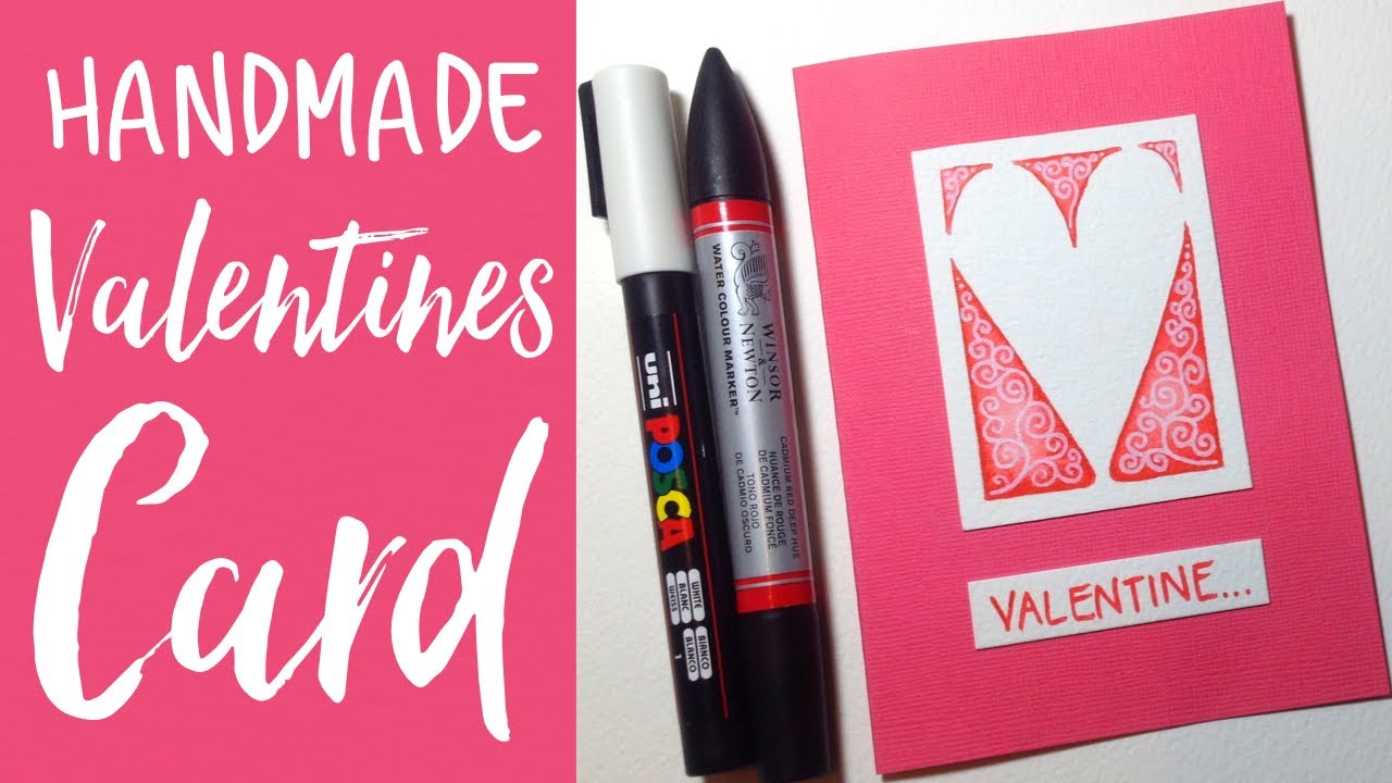 How To Make A Simple Valentine S Card Watercolour Markers Posca