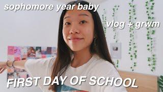 FIRST DAY OF SCHOOL GRWM (sophomore year) vlog + grwm 2020