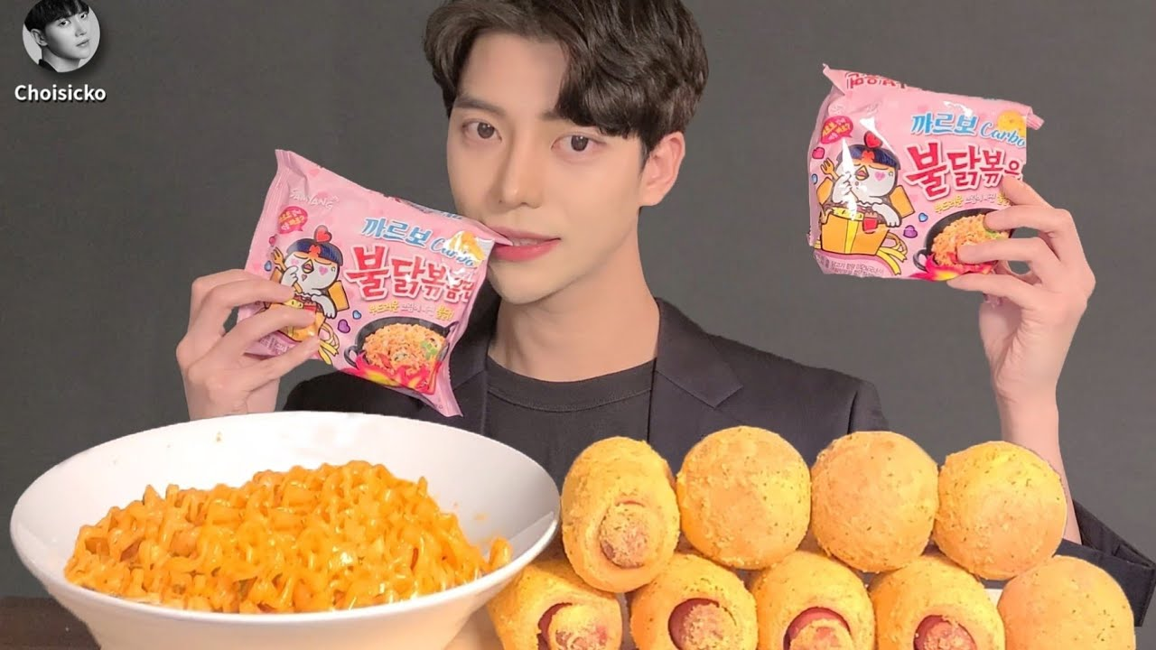 SUB)까르보 불닭볶음면 뿌링치즈볼 뿌링핫도그 먹방 ASMR MUKBANG Korean Spicy Noodles Cheese Ball Hot Dog eating show