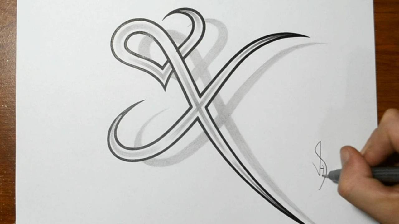 drawing letter x combined with a heart design youtube - Drawing Design Ideas
