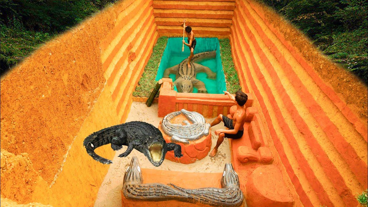 Build Underground Swimming Pool Crocodile Around Secret Underground House