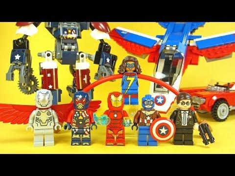 LEGO Captain America Jet Pursuit 76076 & Iron Man Detroit Steel Strikes 76077 Marvel Superheroes