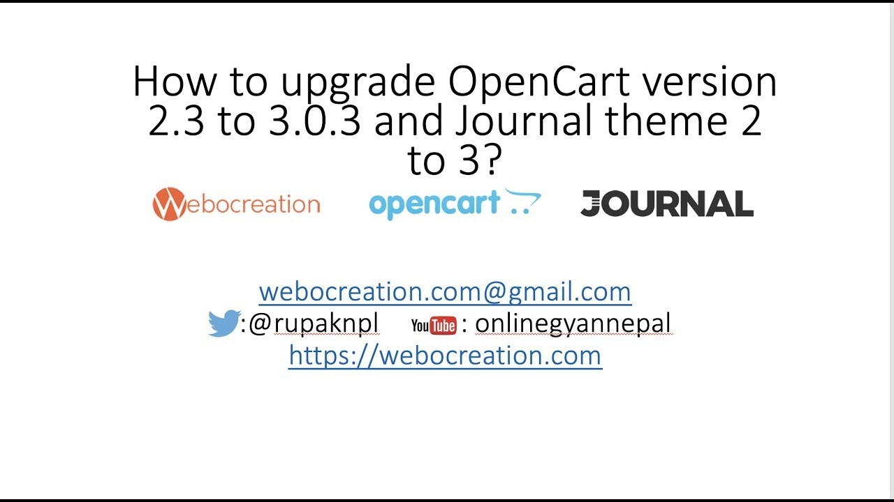 How to upgrade Opencart from v 2 3 to 3 0 3 1 and Journal