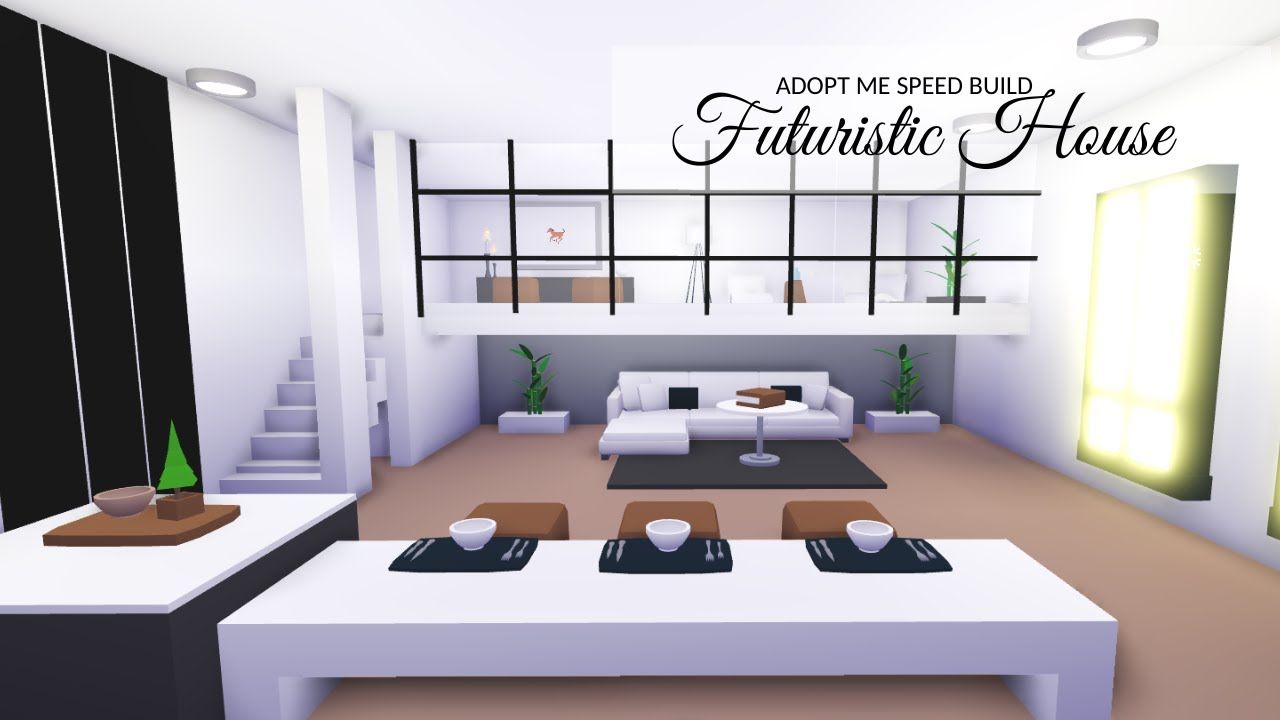 Aesthetic Futuristic Home Adopt Me Speed Build House Tour Youtube