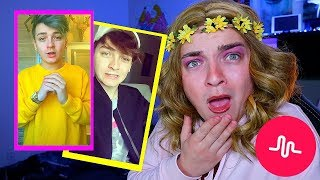 REACTING TO MY BOYFRIENDS MUSICALLYS *Cringe Warning*