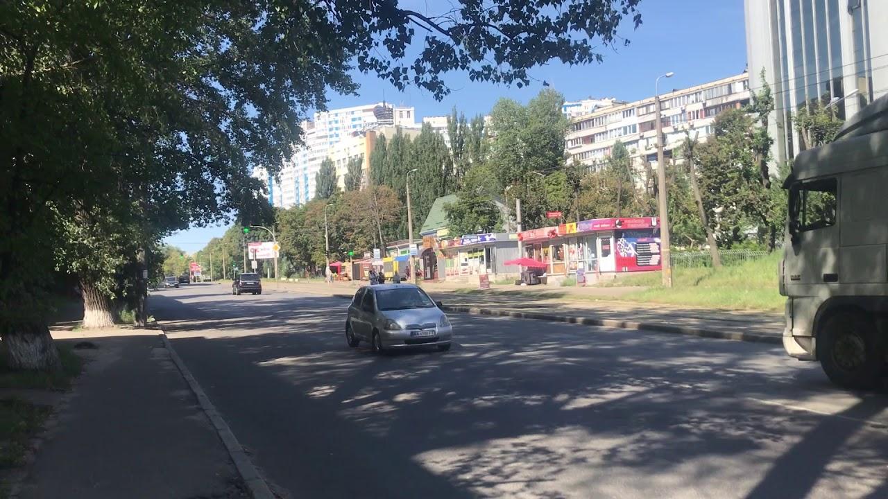 Kiiev journey 2018.  Day Third. Dektjarivska avenue view. Ukraine